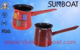 完全なステッカーか手塗りのエナメルのコーヒー鍋またはティーポットまたはミルクの鍋のやかん