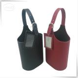 Personalizado Cardboarden cuero de la PU de la botella doble portador de vino de la caja