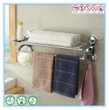 Двойная штанга полки шкафа хранения держателя рельса полотенца ванной комнаты крома