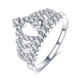 De Koninklijke Kroon van de Diamant van CZ Koningin Finger Ring Wholesale (CRI1011)