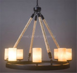Phine Home or Hotel Decoração Metal & Rope Pendant Lamp