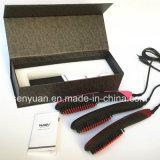 Redresseur professionnel de cheveu du peigne Nasv-300 de redresseur de cheveu d'anion d'OEM avec le balai en céramique électrique de redresseur de cheveu de fers d'affichage à cristaux liquides