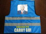 Cor azul da veste da segurança com logotipo 100%Polyester da cópia