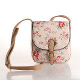 분홍색 영국 작풍 방수 Retro 꽃 PVC 화포 어깨에 매는 가방