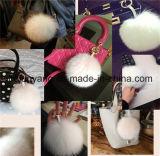 方法女性袋のための実質のキツネの毛皮のPompons