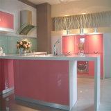 Alta cabina de cocina de la pintura del color de rosa del lustre del nuevo estilo moderno 2016