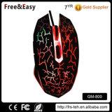 Резиновый мышь разыгрыша покрытия освещенная контржурным светом СИД связанная проволокой USB
