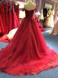 Uma linha/princesa fora do vestido de noite de Borgonha do ombro