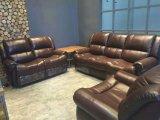 Sofá moderno do Recliner para a sala de visitas com o sofá do couro genuíno