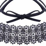 方法PUの革弓完全なラインストーンのきらびやかな花のダイヤモンドカラーチョークバルブのネックレスの宝石類