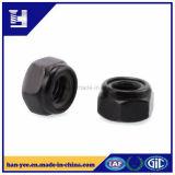 Écrou de blocage Hex en nylon galvanisé noir
