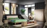 Schlafzimmer-Möbel-Typ Antike-europäisches festes Holz-Doppelt-Größen-Bett (UL-LF007)
