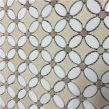 Telha Waterjet Shaped do mármore do mosaico da estrela para o preço de revestimento