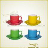 Tazze di tè di ceramica all'ingrosso poco costose, abitudine bianca della porcellana del commercio all'ingrosso stampata