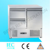 Refrigerador de mármore superior aberto de Saladette de três portas (tampa de vidro)