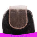 Человеческие волосы девственницы закрытия шнурка китайских волос прямые