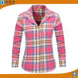Form-Frauen-Plaid-Hemd-Flanell-Hemd-Baumwolle übersteigt Blusen