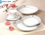 20PCS venden al por mayor el conjunto cuadrado de cerámica del servicio de mesa, conjunto de té blanco de la porcelana