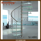 De moderne Houten Kabel die van het Roestvrij staal van het Loopvlak Spiraalvormige Treden omheinen Binnen (sj-H889)