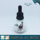 Botella de aceite esencial de vidrio redondo