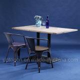 A mobília antiquado do restaurante ajustou-se com cadeira do metal e a tabela dobro de madeira (SP-CT758)