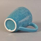el azul 287ml esmaltó la taza de consumición de cerámica con diseño de la flor