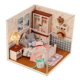 2017 casa de boneca de madeira pequena encantadora do brinquedo DIY com mobília
