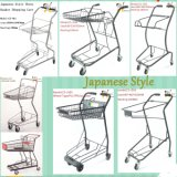 Korb-Supermarkt-Einkaufswagen der japanischen Art-zwei, Korb-Karre, kaufenlaufkatze