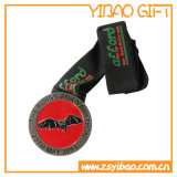 Medallón de encargo del esmalte de la insignia con la cinta sublimada (YB-MD-12)