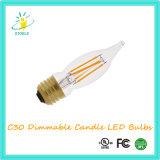 Luz de Natal da ampola da corda do filamento do diodo emissor de luz do candelabro de Stoele C30 4W