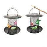 Metallo decorato alimentato solare Birdfeeder della decorazione del giardino pensile di vetro macchiato