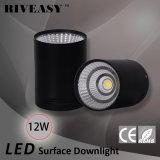 iluminación negra montada superficie de la luz LED de Downlight de la MAZORCA de 12W LED