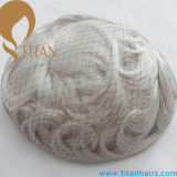 Toupee bianco di colore dei capelli umani #60 di 100% per i maschi