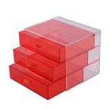 Rectángulo de acrílico rojo de escritorio del cajón de la visualización de la joyería