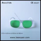 Rtd-4 630 - 660nm O.D3+ y 800 - gafas de seguridad de laser de 830nm O.D3+ y de 900-1100nm O.D5+ para el rojo, En 207 del Ce de la reunión de los lasers del diodo