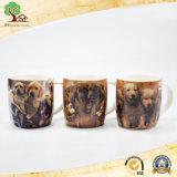 taza de cerámica de los animales lindos 14oz para la taza del perro y del gato del regalo del bebé