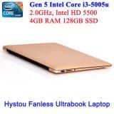 인텔 코어 I3 5005u를 위한 소형 휴대용 퍼스널 컴퓨터 (황금과 fanless)