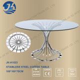 Mesa de centro oval do vidro Tempered com pés do aço inoxidável