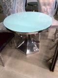 Tabela e cadeiras redondas baratas de jantar do vidro Tempered