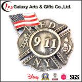 Medalha de bronze antiga redonda do Pin de América do cálculo de gastos do diâmetro com logotipo feito sob encomenda para o emblema 911
