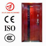 Puerta de acero de seguridad de color madera utilizado para la entrada de la casa