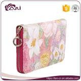 Бумажник напечатанный цветком застежки -молнии типа PU кожаный женщин 2017