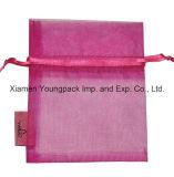 De uitstekende kwaliteit Gepersonaliseerde Zak van de Gift van de Juwelen van Organza Drawstring van de Douane Hete Roze Kleine