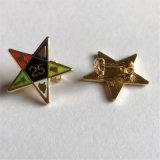 no Pin de venda quente conservado em estoque do Lapel da estrela do metal do ouro