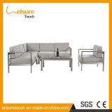 Sofa en aluminium de coin d'art de tissu de petits de famille de salon de ressource meubles extérieurs de jardin