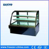 Refrigerador de cristal curvado color negro de la visualización de la torta de la puerta para el departamento de la panadería