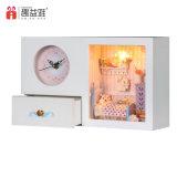 Reloj blanco de madera casa de muñecas para el preescolar