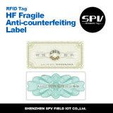 Etiqueta Anti-Falsificando Ntag216 ISO14443A do Hf para a gerência do vinho