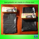 Черные мешки отброса HDPE полиэтиленовых пакетов