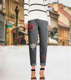 Calças de brim frouxas européias da sarja de Nimes do bordado do furo do lazer da forma para mulheres